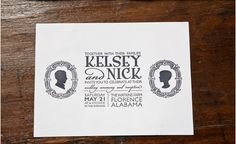 Nifty use of typography -- possibly personalized with actual shadow profiles of the bride and groom
