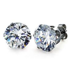 e0dc3dd747b3 West Coast Jewelry Stainless Steel 10 mm Cubic Zirconia Stud Earrings