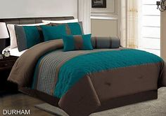 Chezmoi Collection 7pc Teal Grey Brown Pleated Quilting Comforter Set, Cal King