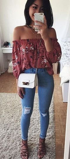 #fall #outfits women's red and white floral off shoulder 3/4 sleeved top