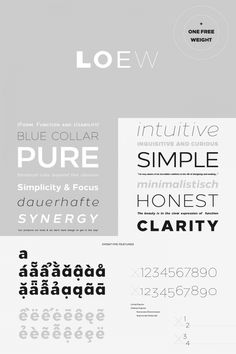The Loew typeface, a geometric sans serif font family from The Northern Block Ltd. British type designer Jonathan Hill of foundry The Northern Block Ltd ha