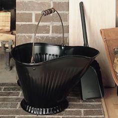 Coal Hod & Shovel Set; Black