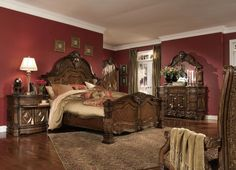 Michael Amini Windsor Court Vintage Fruitwood Traditional Bed Room Set by AICO