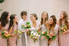 mixed gowns in mauve + dove #bridesmaids #nataliedeayala