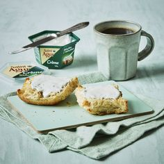 Saint Agur Créme is the perfect good morning treat. Generously spread on a fresh baked bun and enjoyed with a nice cup of coffee. Fun Cup, Coffee Cups, Muffin, Treats, Fresh, Nice, Breakfast, Food, Sweet Like Candy