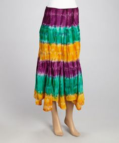 #MardiGras :o) Look at this #zulilyfind! Bright Gold & Purple Tie-Dye Maxi Skirt #zulilyfinds