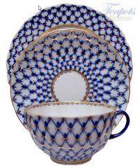 Lomonosov Cobalt Net Porcelain Cup Saucer Plate Trio