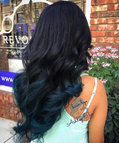 Black+Hair+With+Dark+Blue+Ends