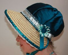 The poke bonnet was fashionable at the beginning of the century, and consisted of a small crown and wide brim to shade the face. From 1830 through to the the shape of the brim became mo… Victorian Hats, Victorian Costume, Victorian Dresses, Historical Costume, Historical Clothing, Regency Dress, Regency Era, Bonnet Pattern, Jane Austen