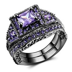 Purple Swarovski Elements Crystal Black Gold Plated Couple Rings for Women. Main stone size:0.28Inch(0.7CM)X0.28Inch(0.7CM). Materil:Alloy Black Gold ,AAA Grade zircon . Us Size 5-11. Pierced design of the band makes it not that inflexible and simple,you'll fall in love with it as time went by. With mordern design, this ring will be the appriciated gifts for Engagement, Wedding, Birthday, Valentine's, Christmas, or any occasion. 100% brand new, Excellent Quality ,Perfect After-Sales…