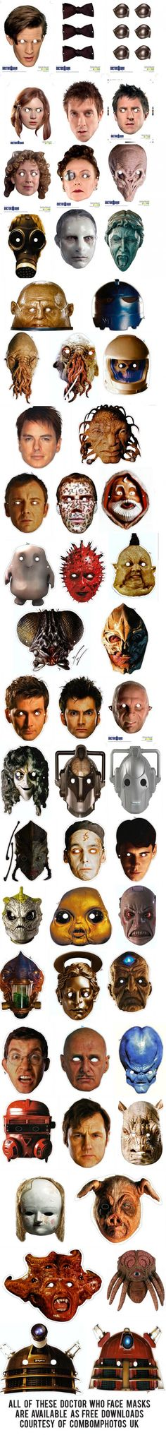 Free Doctor Who Character Printable Face Masks!!!