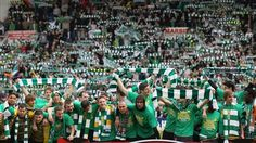 Celtic FC celebrating winning the Scottish Premier League