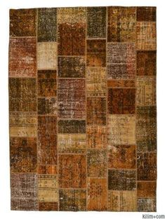 K0005382 Over-dyed Turkish Patchwork Rug | Kilim Rugs, Overdyed Vintage Rugs, Hand-made Turkish Rugs, Patchwork Carpets by Kilim.com