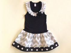 Girls Chevron Dress Girls Dress Silver and Black Chevron Dress Kids Baby Toddlers Dress Size 0-3 3-6 6-9 12 18 24 Months Girls 2 3 4 5 6 8