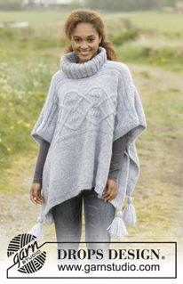 Knitted DROPS poncho with cables, turtle neck and tassels in Air. Size: S - XXXL. Free knitting pattern by DROPS Design. Poncho Knitting Patterns, Knit Patterns, Free Knitting, Stitch Patterns, Knitted Cape, Knitted Shawls, Cozy Knit, Drops Design, Winter Poncho