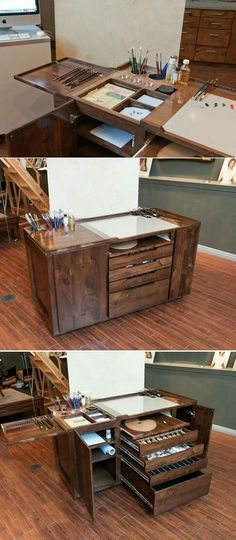 47 Ideas For Design Studio Space Art Supplies Art Studio Organization, Diy Organization, Art Studio Storage, Woodworking Organization, Art Storage, Storage Ideas, Desk Storage, Office Storage, Art Supplies Storage