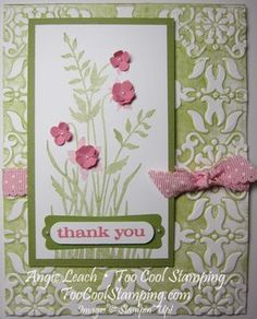 Retiring Just Believe & Vintage Wallpaper Embossing Folder.  Pretty In Pink Scalloped Dots Ribbon, inked impressions, itty bitty punch pack flowers, markers ~www.TooCoolStamping.com