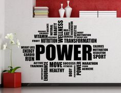 Power Fitness Motivation Word Cloud Wall Sticker Gym Sports Training Place Vinyl Decal Home Room Interior Decor High Quality Mural (93gy)