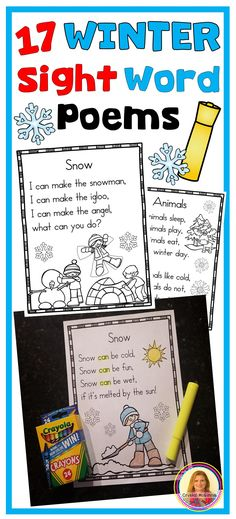 Winter Sight Word Poems for New Readers