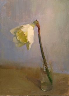 Single Daffodil by Kathleen Speranza, Oil, 12 x 9 x Tulip Painting, Flower Painting Canvas, Light Painting, Floral Paintings, Still Life Drawing, Painting Still Life, Still Life Art, Renaissance Paintings, Renaissance Art