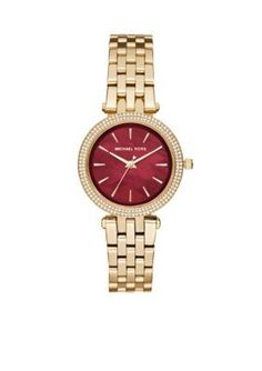 Michael Kors  Womens Mini Darci Gold-Tone Three-Hand Watch