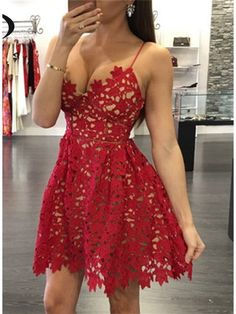 RED MINI LENGTH V NECK SEXY HOMECOMING DRESS WITH STRAPS