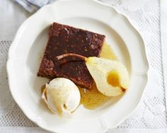 Ginger cake and poached pears with a syrupy cider sauce - perfect for a dinner party