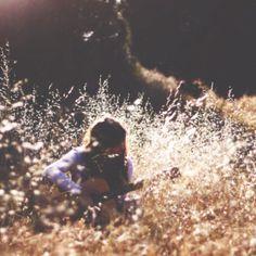 hippy girl, field, guitar