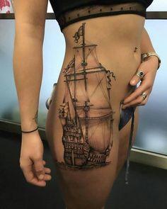 High Thigh Tattoos For Women - Best Thigh Tattoos For Women: Cute Leg Tattoos on Upper, Side, and Back Thigh - Pretty Cool Female Thigh Tattoo Designs and Ideas Tattoo Girls, Girl Tattoos, Tattoos For Women, Hot Tattoos, Badass Tattoos, Body Art Tattoos, Cutest Tattoos, Portrait Tattoos, Thigh Tattoos