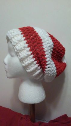 Red and White Crochet Slouchy Beanie, Red and White Hat, Crochet Hat, Winter Hats, Christmas Hat, Valentine's Day, Ready to Ship, B46-16-212 by NoreensCrochetShop on Etsy