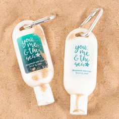 Personalized sunscreen makes for are a thoughtful gift idea for the guests of your beach or outdoor wedding. The bottle contains 1.5 ounces of a high quality tropical scented sunscreen and features a practical carabiner that easily attaches to your guests' beach tote.  #BeachWeddingFavorIdeas #SummerWeddingFavors #PersonalizedSunscreenFavors