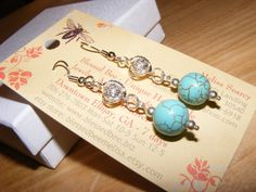 Earrings twisted drop filigree connector 8mm magnesite turquoise stone surgical steel french earwires