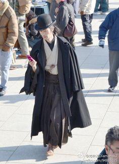【和洋混搭 绅士和服】传统着物+帽子围巾袖子 日本男人很多有这样的穿法