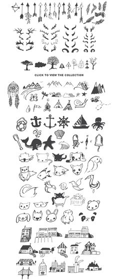 Really Freakin & # s Big Illustration Pack Sample Image 5 # Tattoos - diy tattoo images - Stick N Poke, Wolf Tattoos, Animal Tattoos, Symbolic Tattoos, Unique Tattoos, Doodle Drawings, Easy Drawings, Mini Tattoos, Small Tattoos