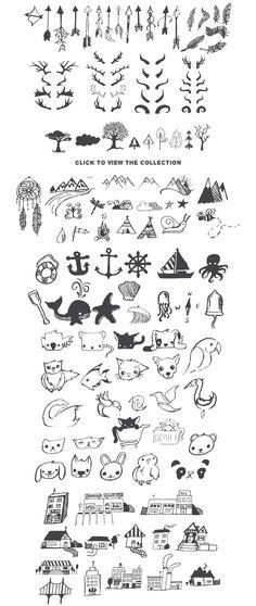 Really Freakin & # s Big Illustration Pack Sample Image 5 # Tattoos - diy tattoo images - Wolf Tattoos, Animal Tattoos, Symbolic Tattoos, Unique Tattoos, Doodle Drawings, Easy Drawings, Mini Tattoos, Small Tattoos, Tatuagem Diy