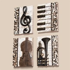Quartet of Music Plaques at The Music Stand – Musik Sheet Music Crafts, Sheet Music Art, Music Music, Art Of Music, Music Wall Art, 3d Mirror, Music Stand, Music Painting, Music Decor