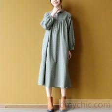 Elegant green dotted cotton caftans plus size clothing shirt collar cotton clothing dress vintage long sleeve maxi dresses