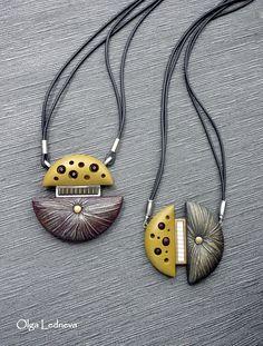 Cernit Polymer Clay Necklace, Polymer Clay Pendant, Polymer Clay Art, Funky Jewelry, Jewelry Art, Jewellery, Clay Design, Pendant Design, Polymer Clay Projects