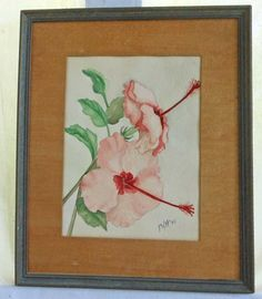 A close portrait of pink hibiscus flowers. It is antique, and any imperfections that have occurred only add to the charm and uniqueness. Art Deco Paintings, Watercolor Paintings, Pink Painting, Painting Art, Original Art, Original Paintings, Hibiscus Flowers, Garden Styles, Art Deco Fashion