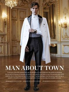 The Parisian Eye–Captured against the beautiful urban backdrop of Paris, Bananas stunner Bastiaan Ninaber is the epitome of timeless chic in the September issue of Robb Report. David Roemer photographs the impeccably polished Bastiaan in Man About Town, Fashion Outfits, Mens Fashion, Mens Clothing Styles, Mens Suits, Parisian, Male Models, Evans, Marie