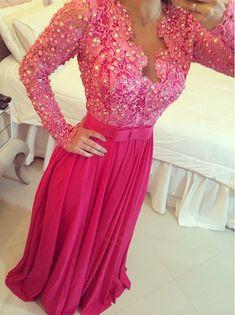 Glamorous Pearls Lace Appliques Chiffon Prom Dress 2016 Bowknot A-line