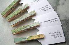 Wedding Escort Card, carta di soggiorno, Segnaposto. Unique Vintage Mappa molletta con stampa personalizzata Escort Tag