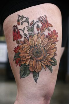 Sunflower and columbine bouquet by Alice Kendall at Wonderland Tattoo, Portland Oregon Sunflower Tattoo Simple, Delicate Flower Tattoo, Sunflower Tattoo Sleeve, Sunflower Tattoo Shoulder, Flower Tattoo On Side, Beautiful Flower Tattoos, Sunflower Tattoo Design, Flower Tattoo Designs, Sunflower Tattoos