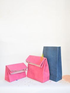 Spring colors leather paper bags by pulpalm on Etsy