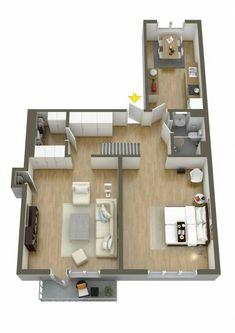 Apartamento grande de 1 quarto