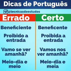 Portuguese Grammar, Portuguese Lessons, Learn Portuguese, Portuguese Brazil, Brazilian Portuguese, Study Notes, Study Tips, How To Memorize Things, Language