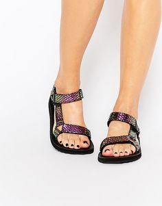 9d591928fecbf Image 1 of Teva Original Univeral Iridescent Black Flat Sandals Flat Sandals