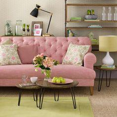 Green-living-room-ideas-pink-sofa