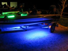 Boat lights- Even the trailer is lit! www.supernovafishinglights.com Fishing Lights, Boat Lights, Light Up