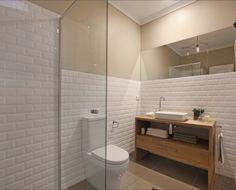 White tile + timber bathroom